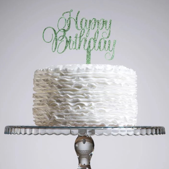 Happy Birthday Script Style Cake Topper - Funky Laser