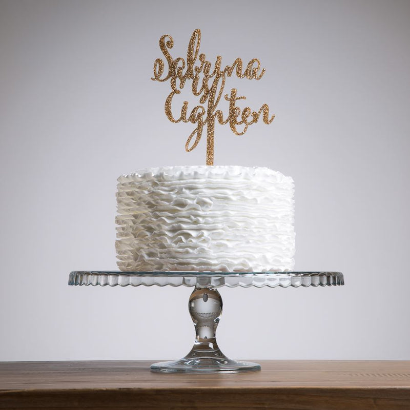 Script Style Name and Age Cake Topper - Funky Laser
