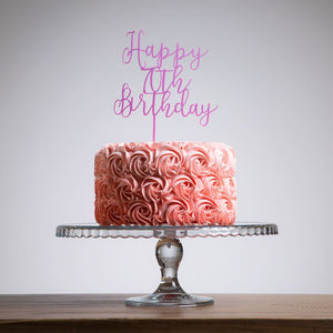 Happy 70th Birthday Cake Topper - Funky Laser
