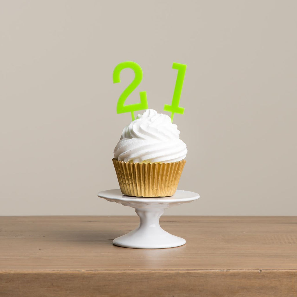 Bold Number Cake Topper Picks - Funky Laser