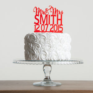 Personalised Mr and Mrs Wedding Date Cake Topper - Funky Laser