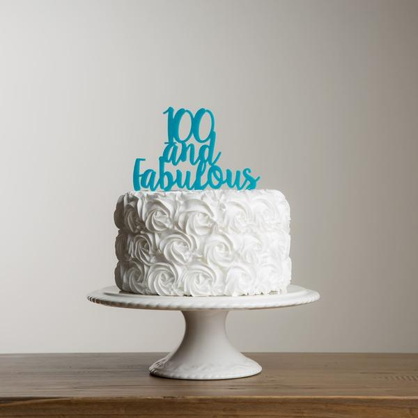 100 And Fabulous Acrylic Number Cake Topper