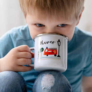 Personalised Children's Fire Truck Themed Enamel Mug