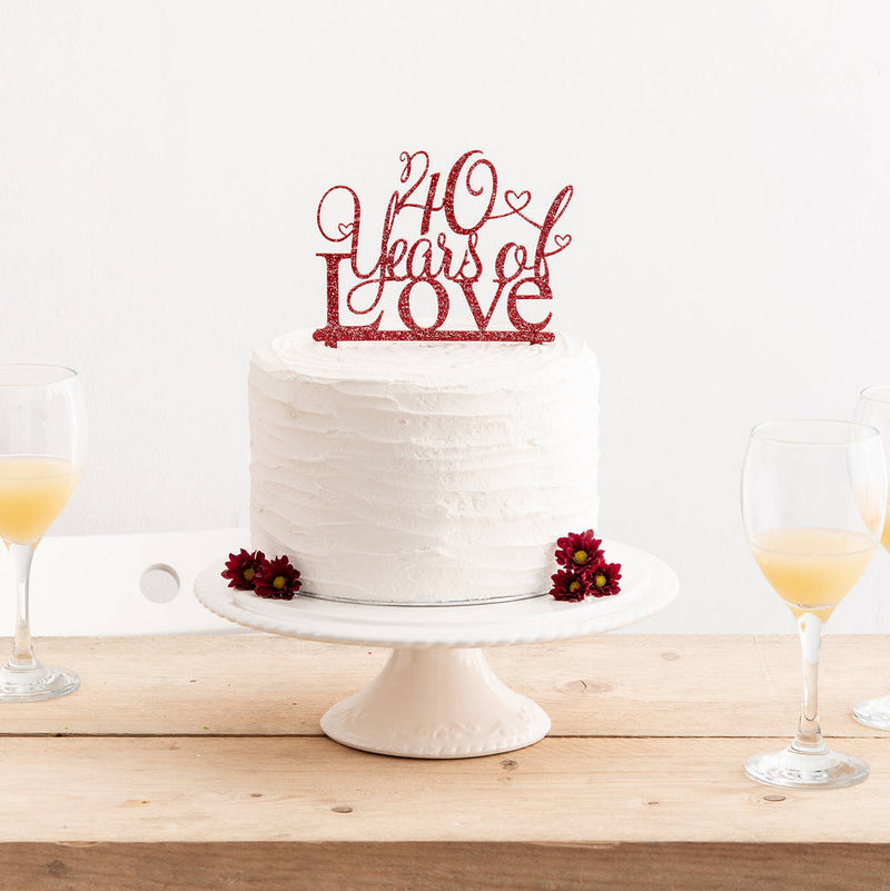 Brilliant 40 Years Of Love Cake Topper Acrylic Anniversary Cake Topper Funny Birthday Cards Online Alyptdamsfinfo