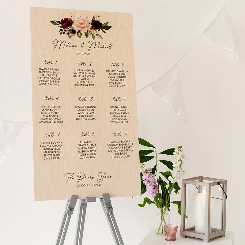 Burgundy Floral Wedding Seating Plan In Wood - Funky Laser