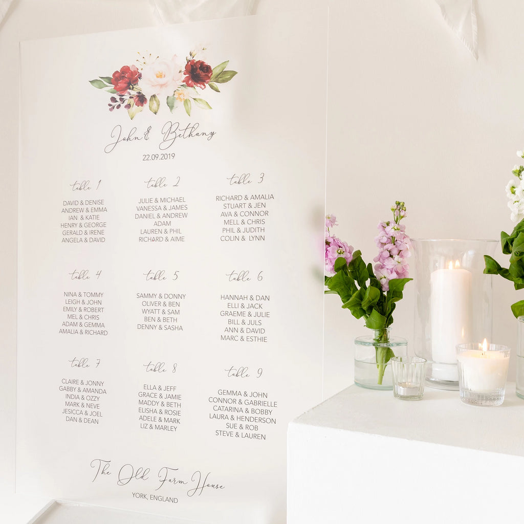 Burgundy Floral Wedding Seating Plan In Frosted Acrylic - Funky Laser