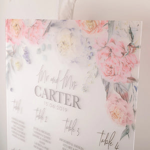 Peony Wedding Seating Plan In Frosted Acrylic - Funky Laser