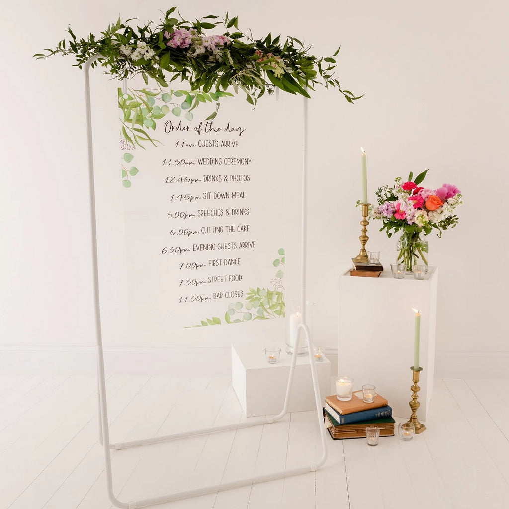 Foliage Order Of The Day Wedding Sign In Clear Acrylic - Funky Laser