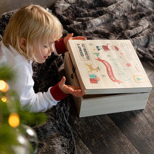 Personalised Children's Santa Christmas Eve Wooden Box - Funky Laser