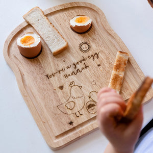 Personalised Chick Toast Chopping Board And Enamel Mug - Funky Laser