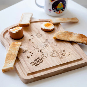 Personalised Space Themed Wooden Toast Chopping Board - Funky Laser