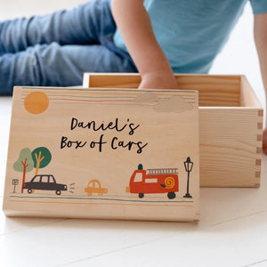Personalised Child's Toy Box With Lift Off Lid - Funky Laser