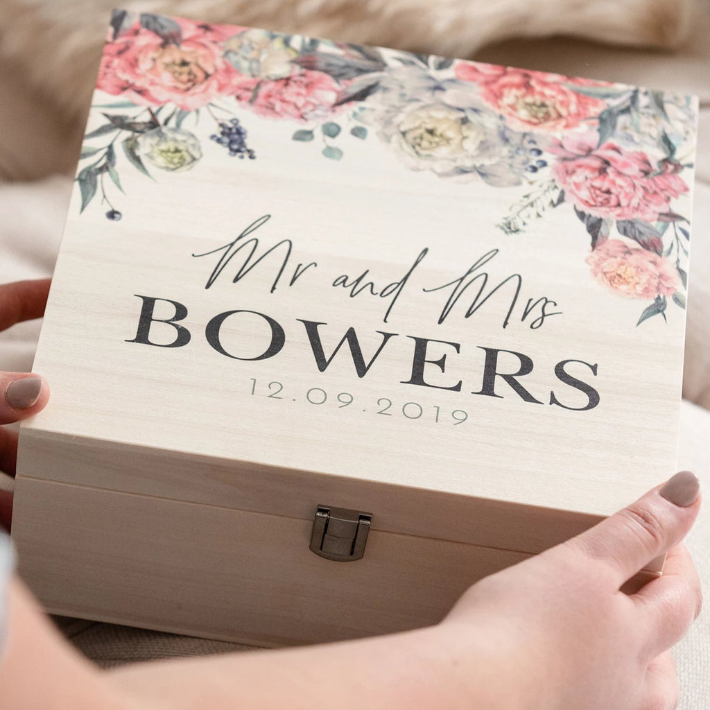 Peony Wedding Couples Keepsake Wooden Gift Box
