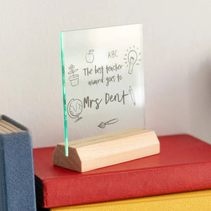 Best Teacher Award Token Standing Frame Gift - Funky Laser