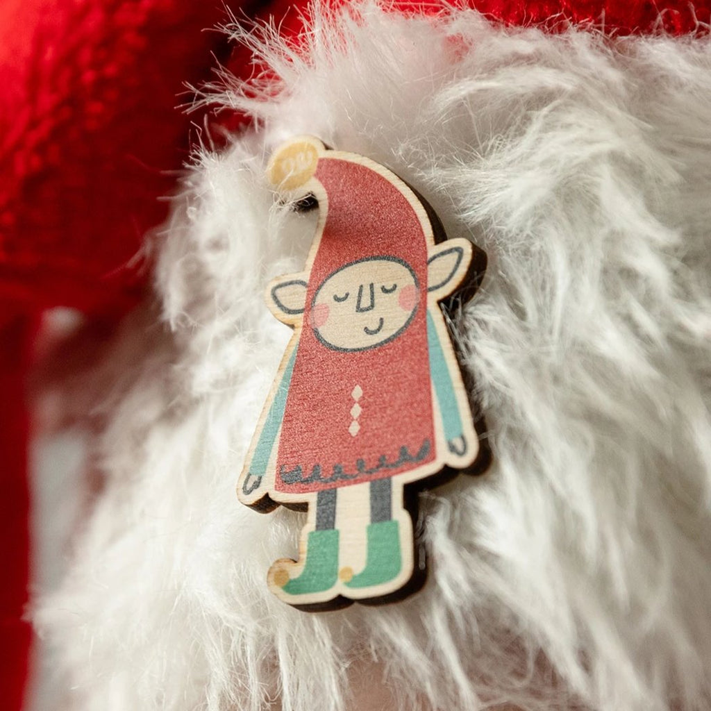 Elf Christmas Pin Badge - Funky Laser
