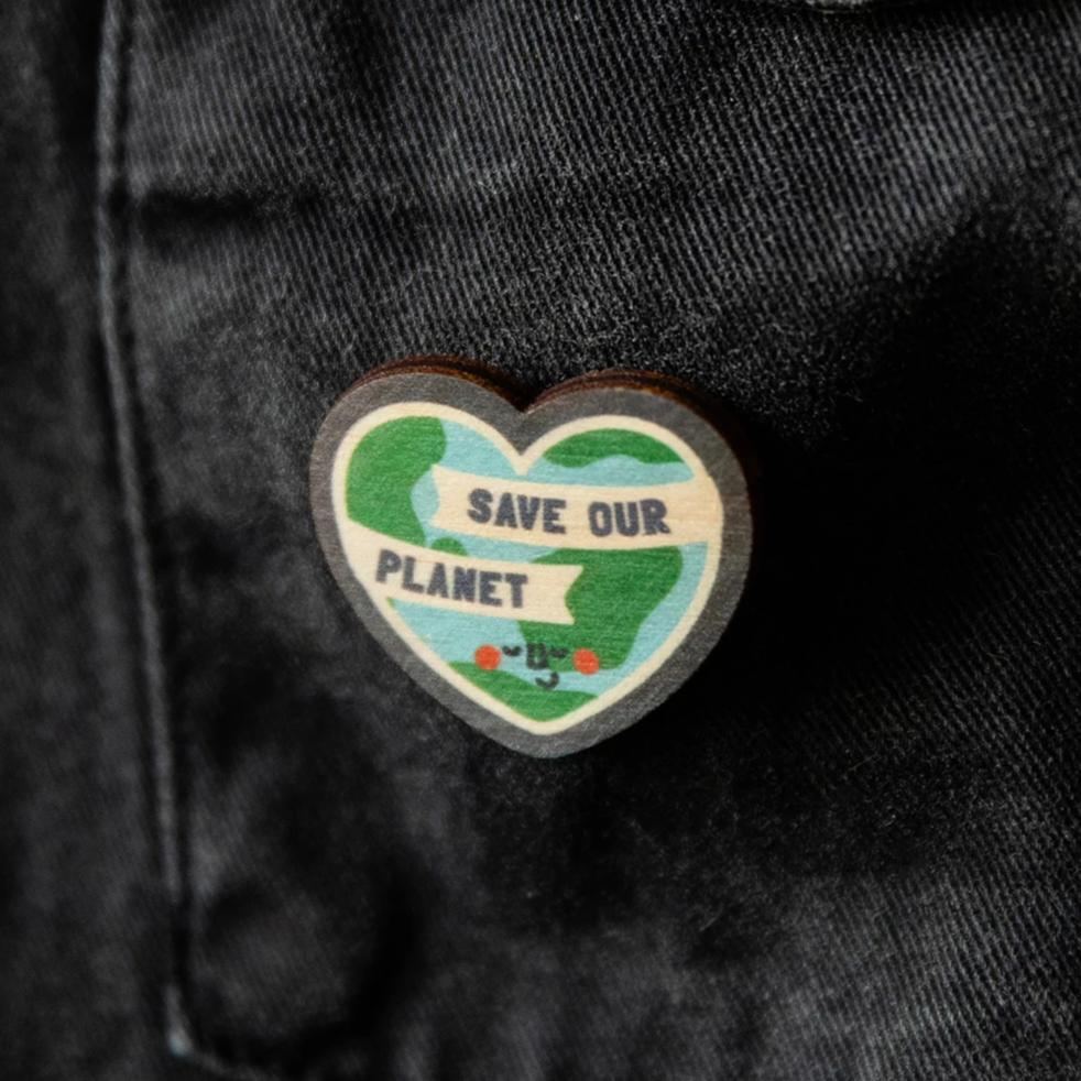 Save Our Planet Wooden Heart Pin - Funky Laser