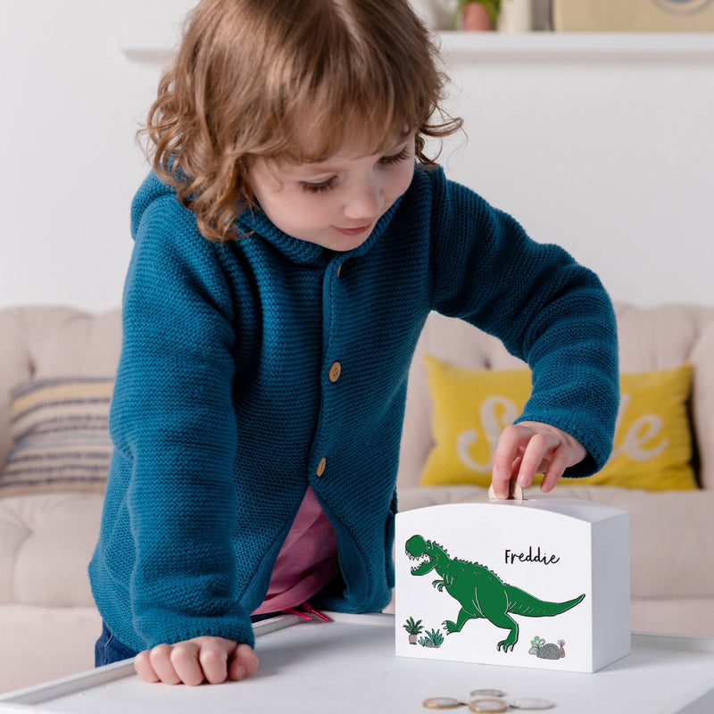 Personalised Dinosaur Money Pot Piggy Bank