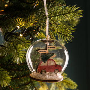 Travelling Home For Christmas Car Tree Bauble - Funky Laser
