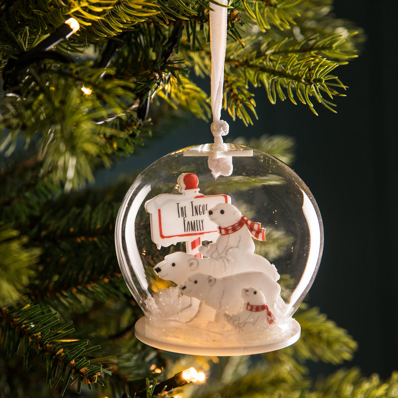 Personalised North Pole Polar Bear Family Bauble - Funky Laser