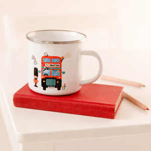 Children's London Bus Personalised Enamel Mug - Funky Laser