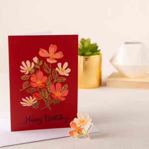 Botanic Happy Birthday Card With Floral Keepsake Pin - Funky Laser