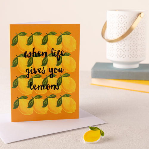 When Life Gives You Lemons Card And Pin Badge - Funky Laser
