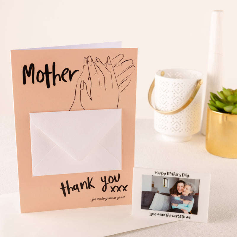 Mother Thank You Card And Photo Magnet Token - Funky Laser
