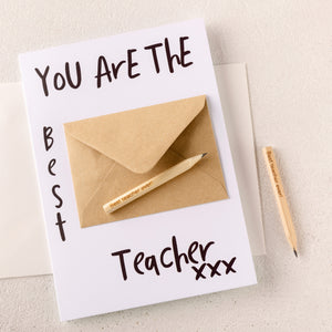 You Are The Best Teacher Card With Engraved Pencils - Funky Laser