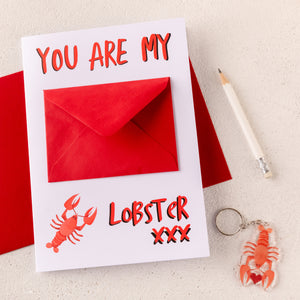 Funny Romantic Lobster Card With Keyring - Funky Laser