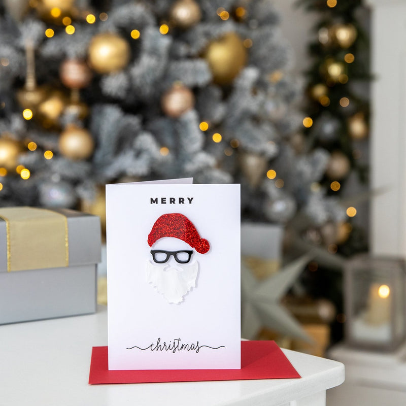Merry Christmas Santa Hat And Beard Novelty 3D Card