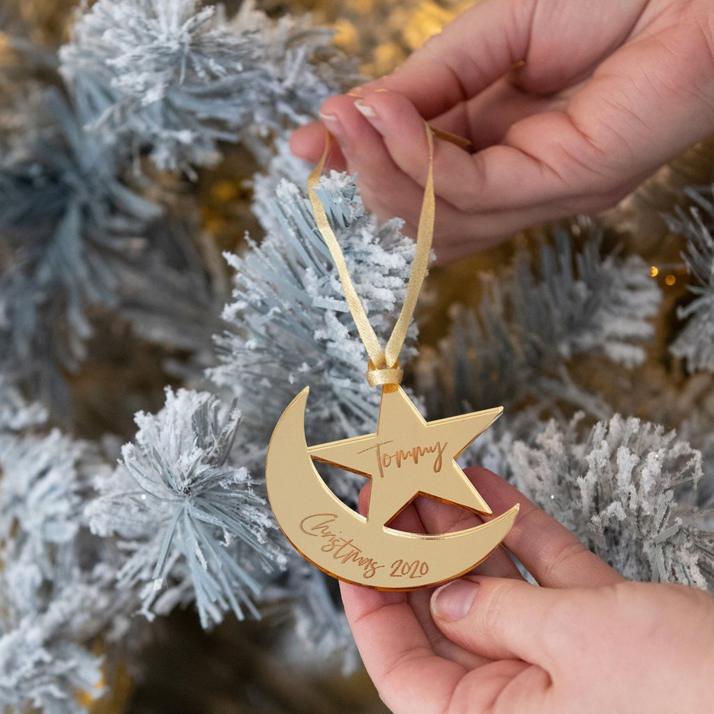 Engraved Gold Moon And Stars Personalised Decoration
