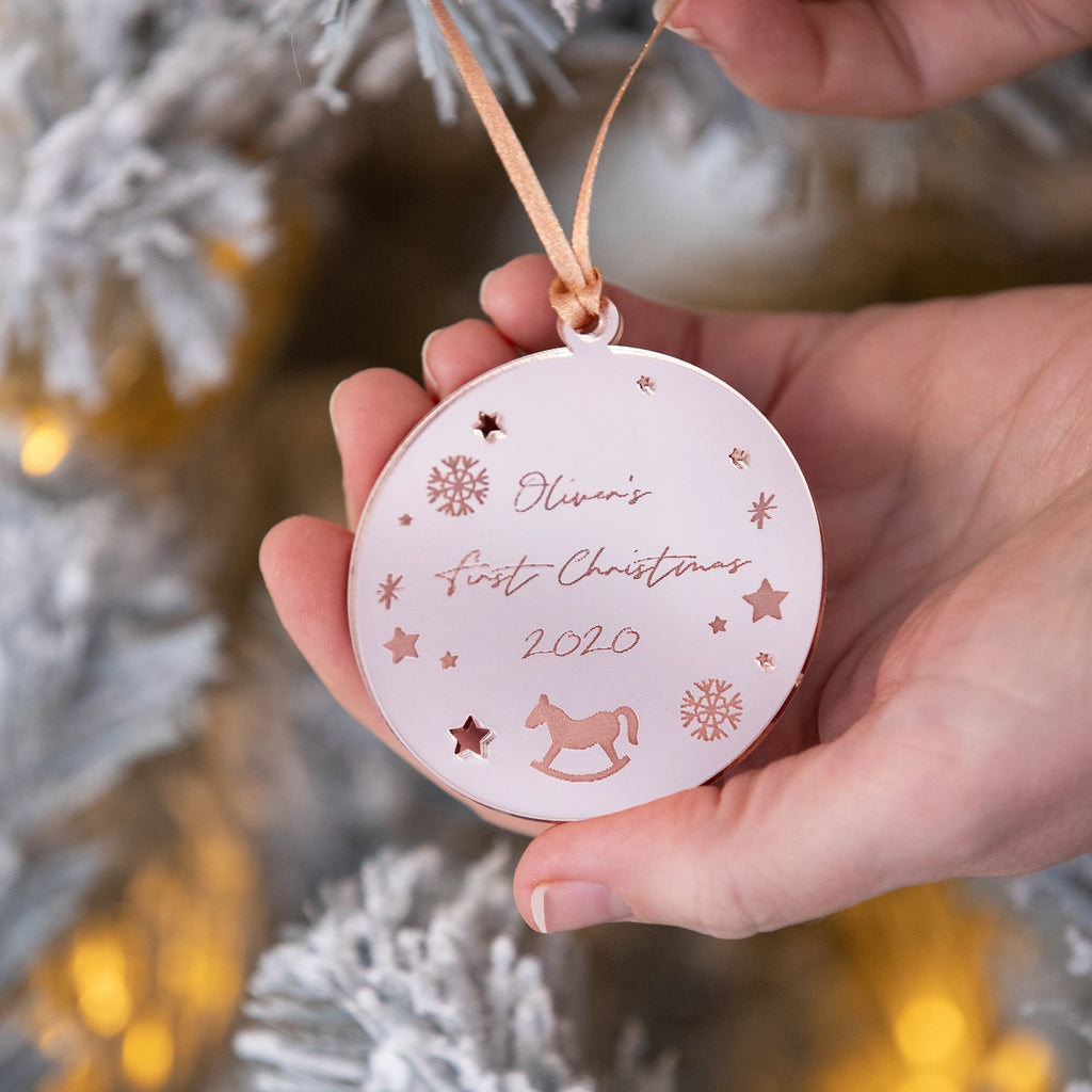 Engraved Rose Gold Baby's First Christmas Bauble