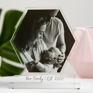 Our Family Photo Block Hexagon Freestanding Sign