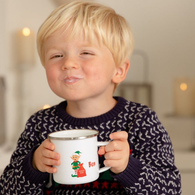 Personalised Elf Enamel Christmas Mug