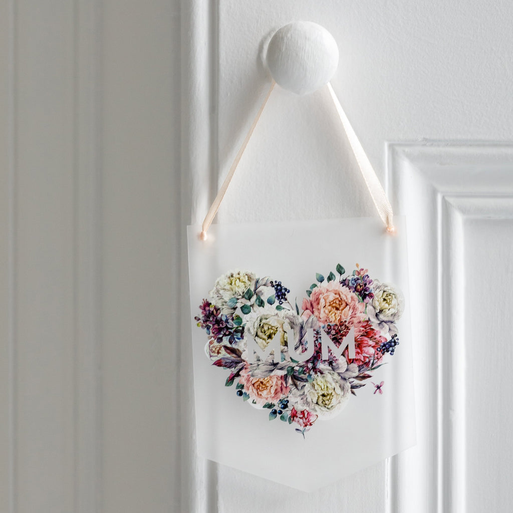 Floral Name Frosted Acrylic Mini Flag Wall Hanging