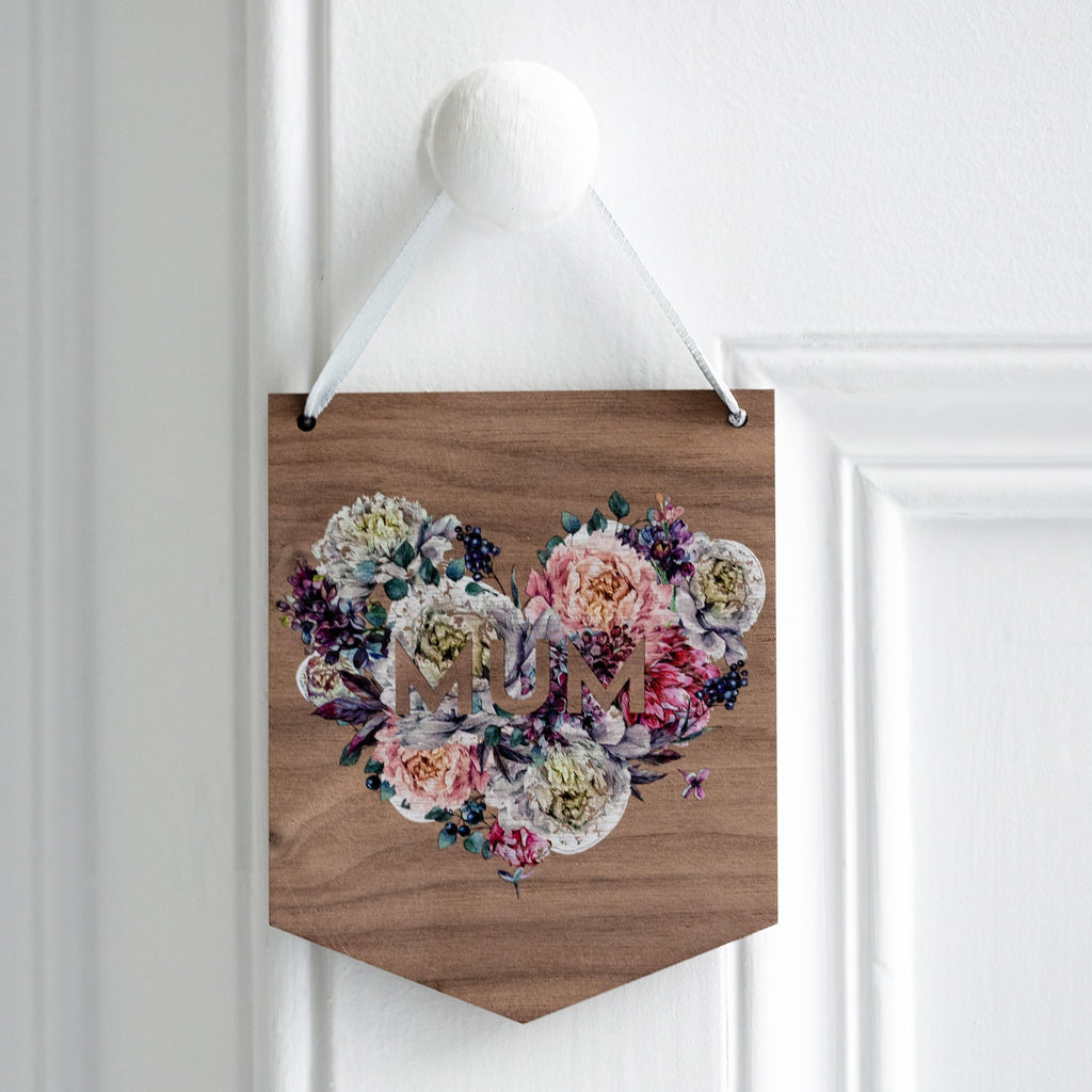 Floral Name Wooden Mini Flag Wall Hanging