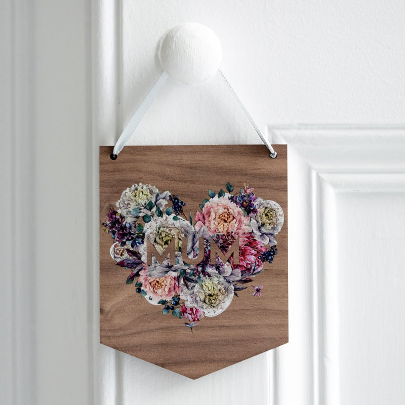 Floral Name Wooden Mini Flag Wall Hanging - Funky Laser