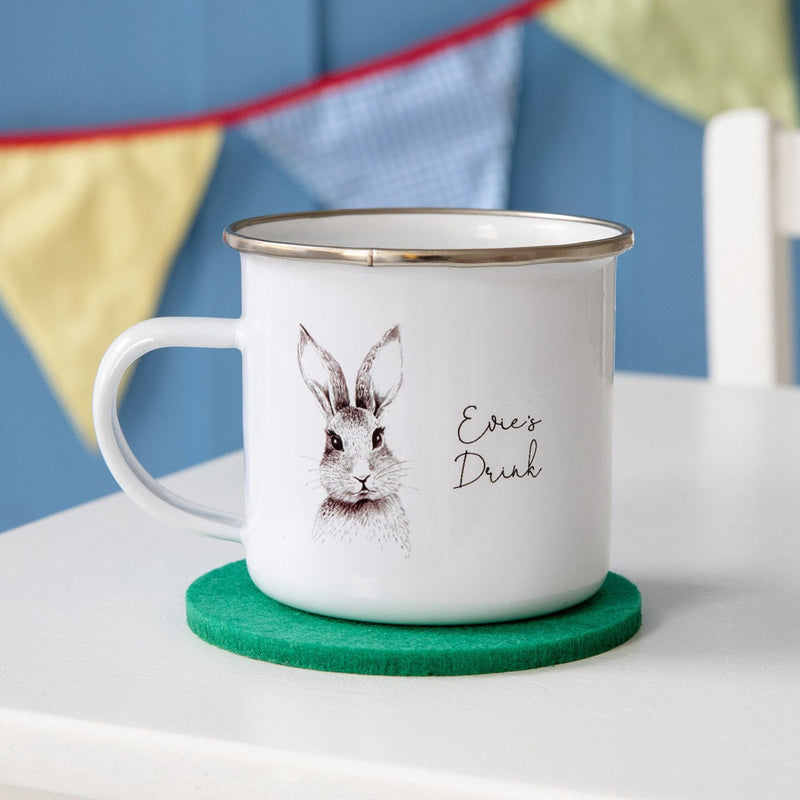 Personalised Woodland Rabbit Enamel Mug