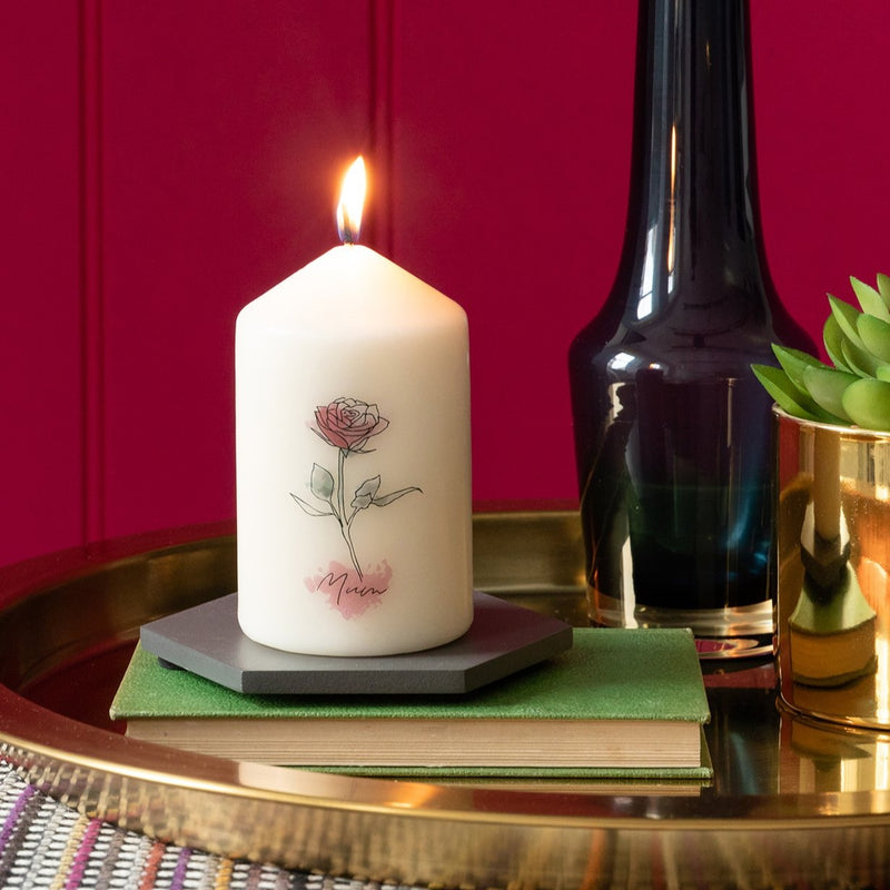 Personalised Birth Flower Pillar Candle