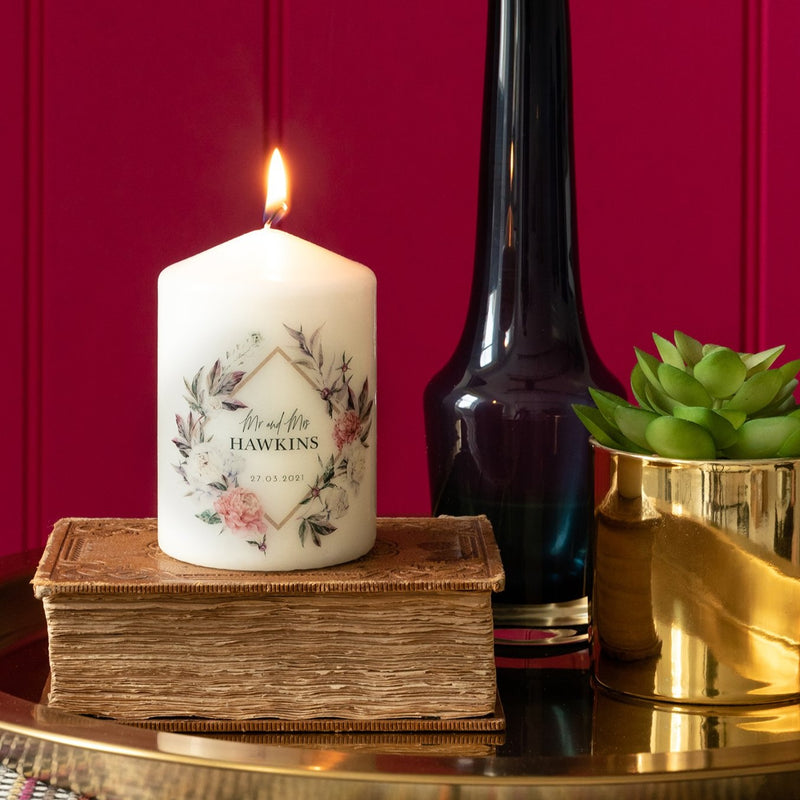 Personalised Peony Frame Pillar Candle