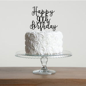 Happy 90th Birthday Cake Topper - Funky Laser