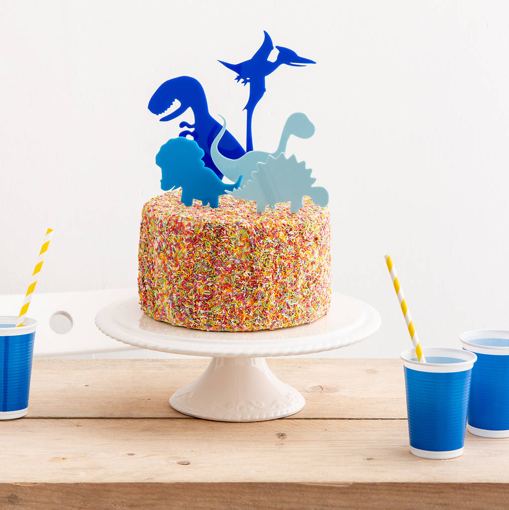 Blue Mini Dinosaurs Party Cake Topper Collection - Funky Laser