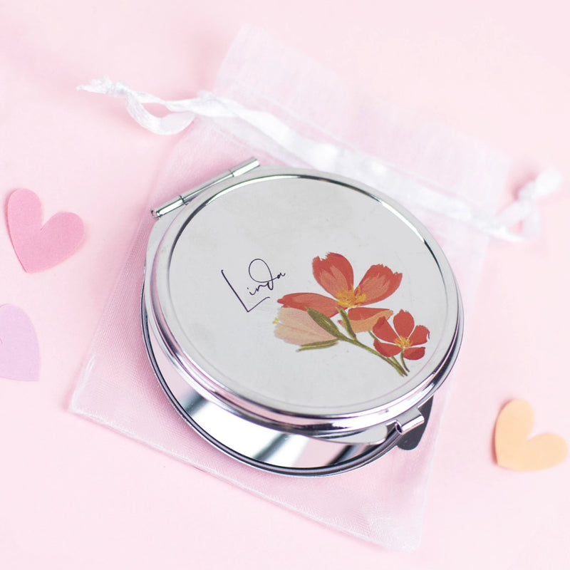 Personalised Floral Pocket Mirror Gift - Funky Laser