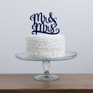Mr And Mrs Script Cake Topper - Funky Laser