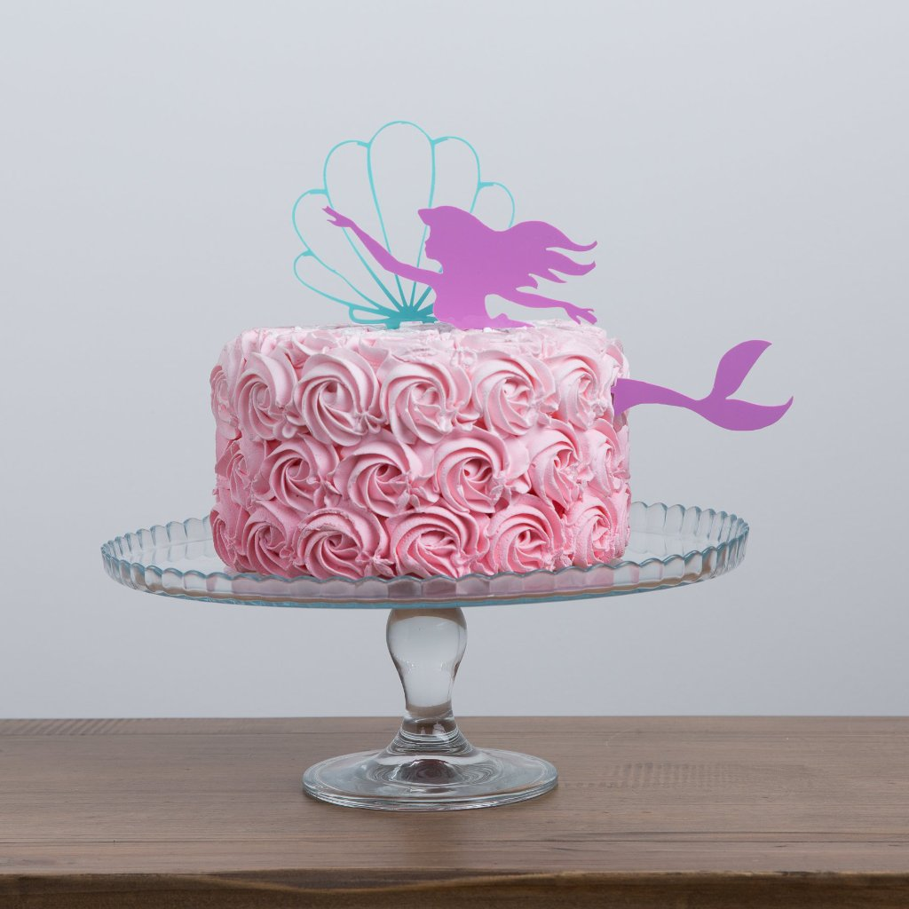 Mermaid And Oyster Shell Birthday Girl Cake Decoration - Funky Laser