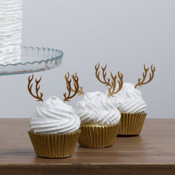 Set of Six Antler Cupcake Decorations - Funky Laser