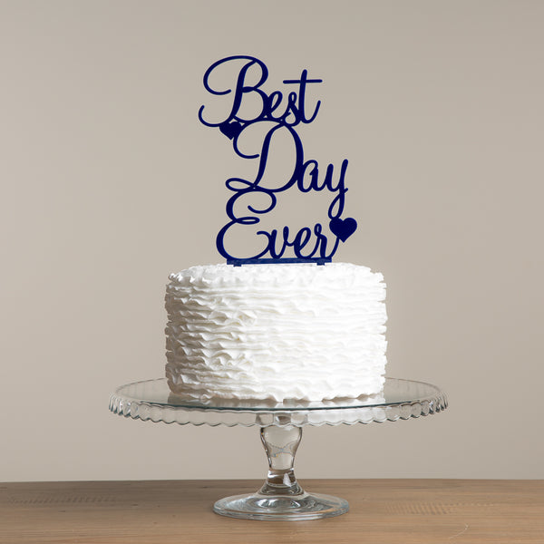 Best Day Ever Two Hearts Cake Topper - Funky Laser