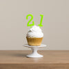 Simple Number Cake Toppers in Lime Green - Funky Laser