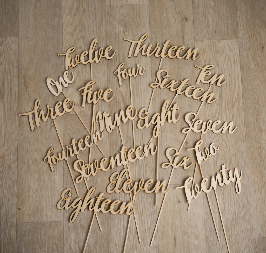 Rustic Toasty Wooden Script Table Numbers Set - Funky Laser