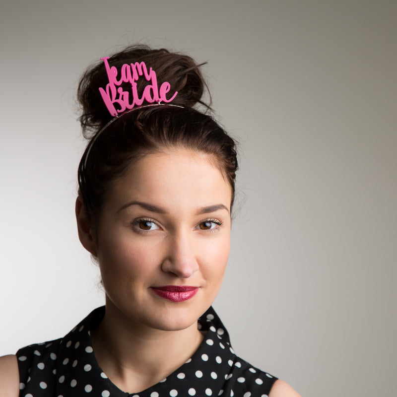 Team Bride Headband in Hot Pink - Funky Laser